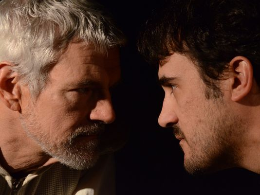 "Randy Messersmith (left) portrays Richard Burbage and Joseph Cannon plays Shakespeare in ""Equivocation."""