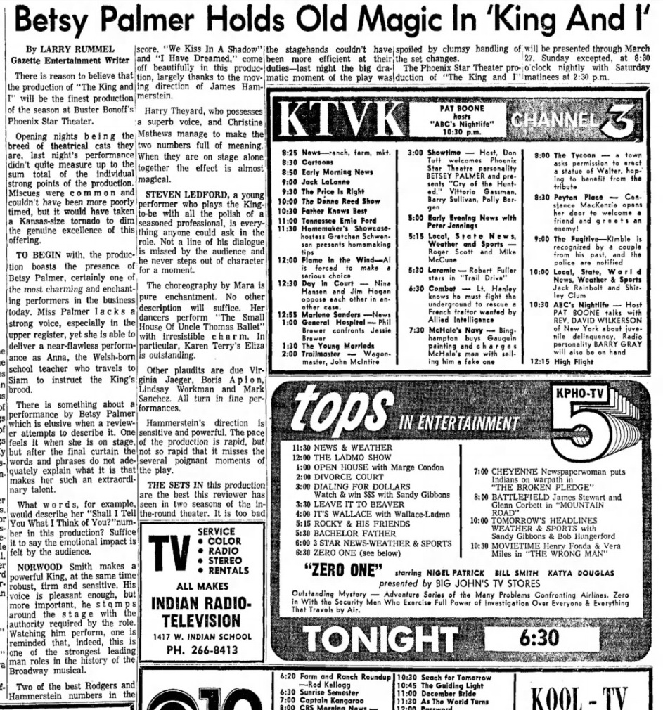 """This review of """"The King and I"""" that appeared in the Phoenix Gazette."""