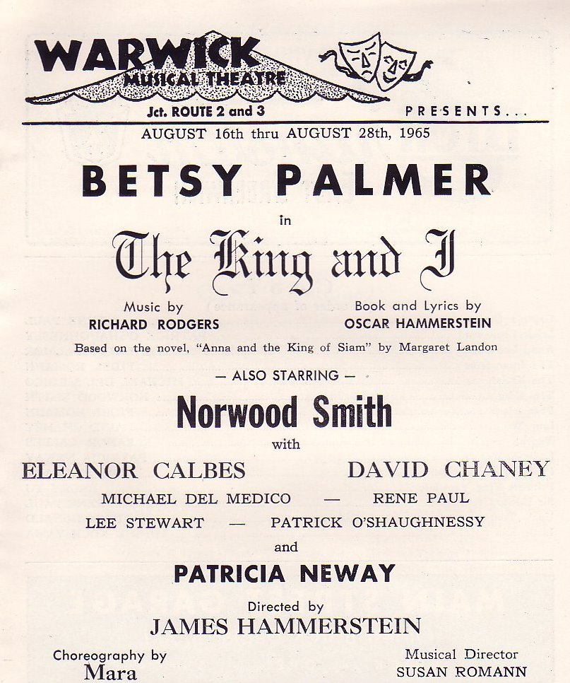 "The playbill for ""The King and I."" The Warwick was the sister theater to the Star here in Phoenix. Productions frequently played both houses."