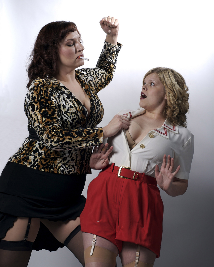 "Tracy Payne and Kim Jeffries in ""Pulp,"" 2008, Stray Cat Theatre. (Photo by John Groseclose)"
