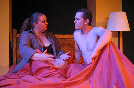 "Stray Cat Theatre, ""Fat Pig,"" November 2006. Bronwyn Schile and Dion Johnson. (Photo, Stray Cat Theatre)"