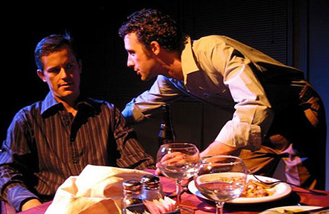 "Stray Cat Theatre, ""Fat Pig,"" November 2006. Dion Johnson and Michael Peck. (Photo, Stray Cat Theatre)"