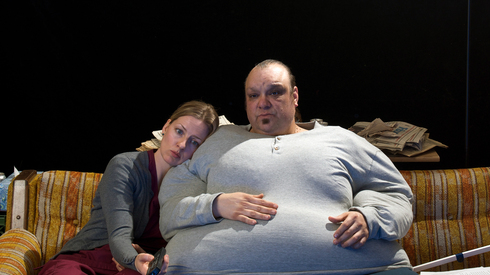 Anne Marie Falvey (left) and Damon Dering star in the Stray Cat Theatre production of 'The Whale.' Photo by John Groseclose.