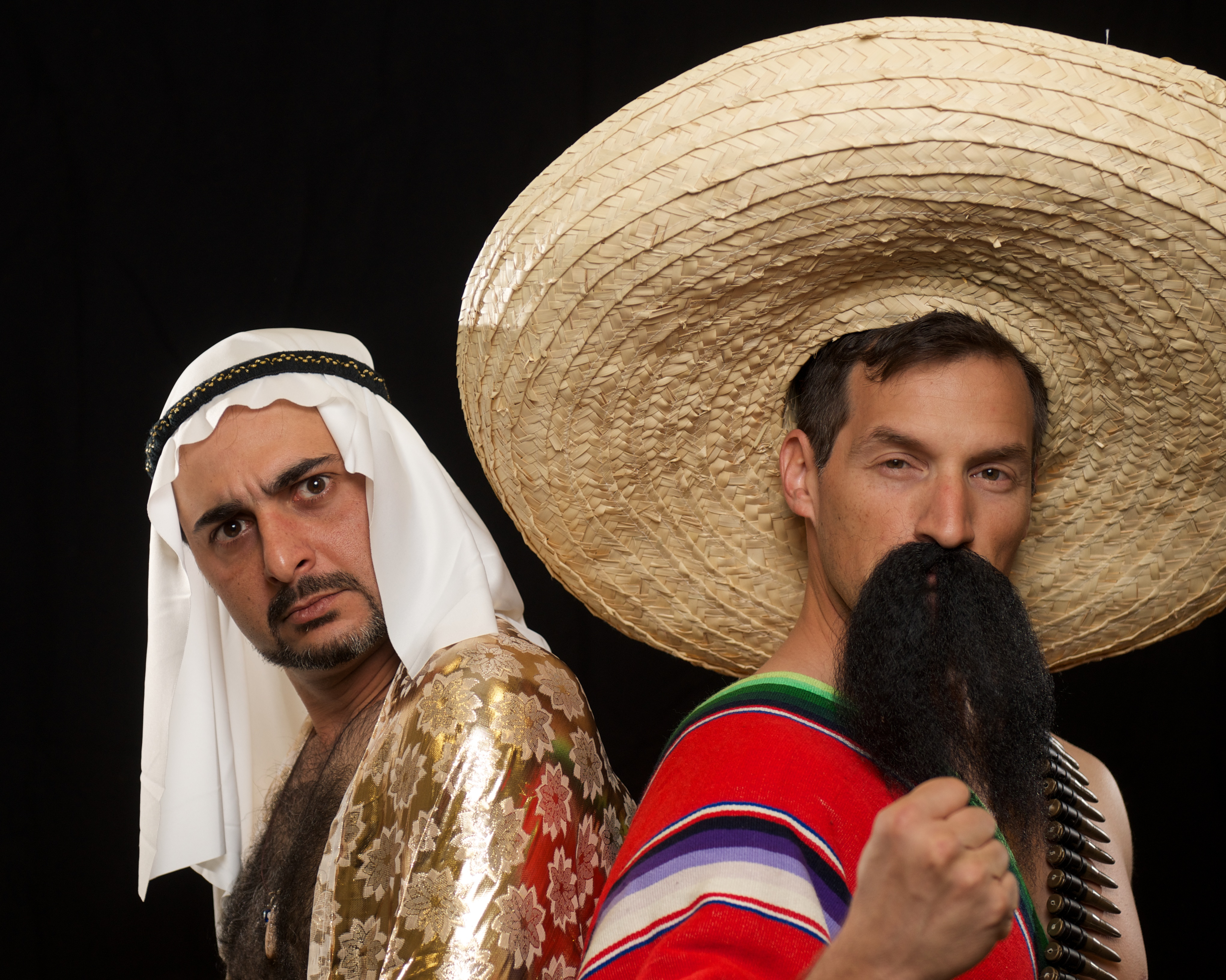 "Pasha Yamotahari and Cisco Saavedra in ""The Elaborate Entrance of Chad Deity"" at Stray Cat Theatre, April-May 2014. (Photo, Stray Cat Theatre)"