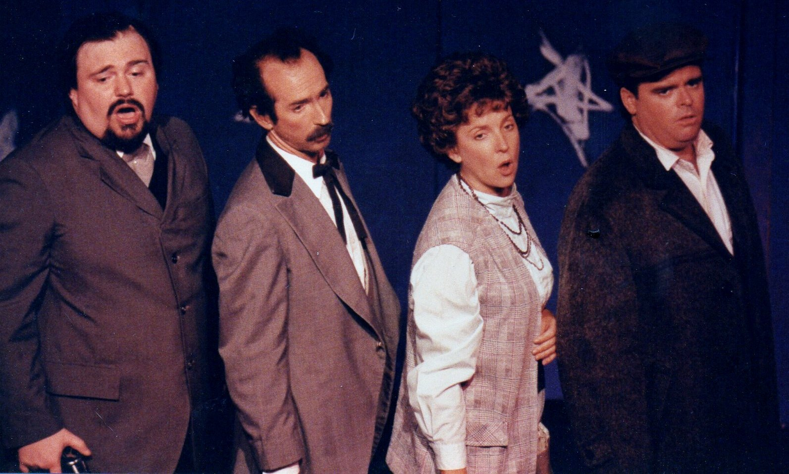 "David Wo's legendary production of Stephen Sondheim's ""Assassins"" starred, from left, Wes Martin, Jon Gentry, Cathy Dresbach and Pat Russel."
