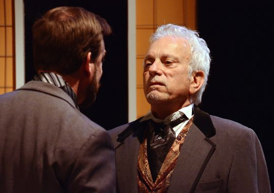 Theatre Artists Studio 2015 The Heiress. Kent Welborn (back to camera), Steven Mastroieni. Photo by Mark Gluckman.