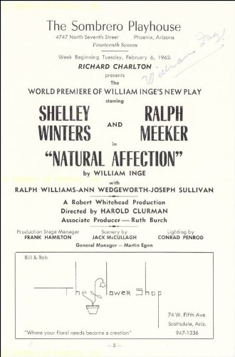 """William Inge's """"Natural Affection"""" had its world premiere at the Sombrero Playhouse in February, 1962."""