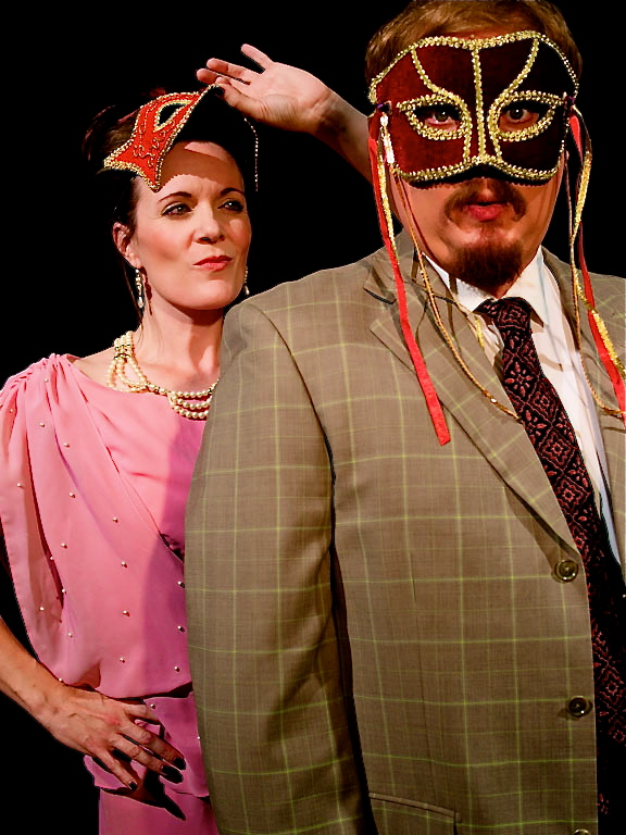 """Jesse James Kamps and Maren Maclean as the battling Benedick and Beatrice in SSC's """"Much Ado About Nothing."""" (Photo, Southwest Shakespeare Company)"""