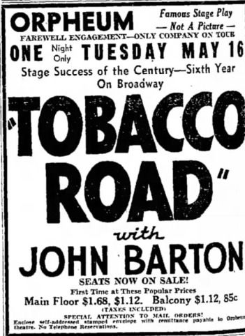 orpheum theatre april 30, 1929