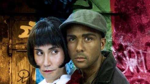 """Jeffrey Wei is Angel and Lee Hollis Bussie is Collins in """"Rent,"""" Phoenix Theatre, 2013. (Photo by Sara Chambers)"""