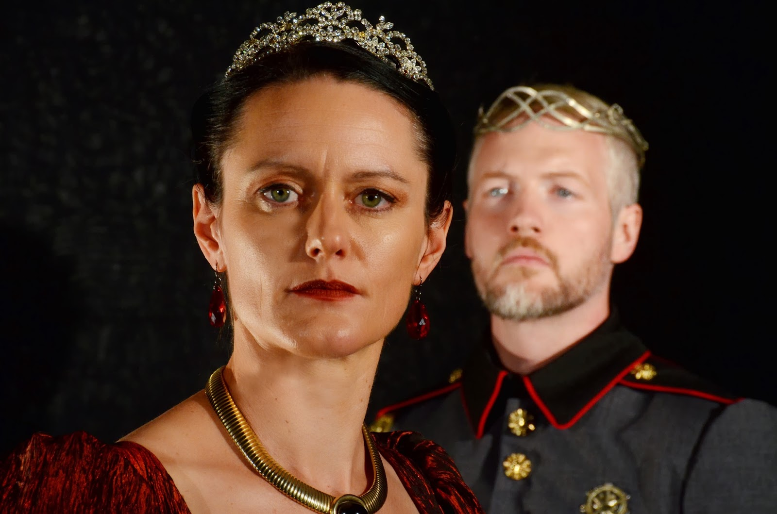 Tina Mitchell and Terence MacSweeny as the Scottish couple in Southwest Shakespeare's production of the Scottish play. (Photo, Mark Gluckman)