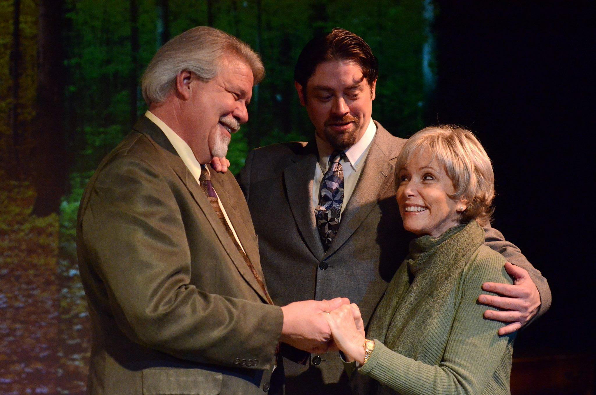 "Michael Fleck, Jason Lee McDonald and Judy LeBeau in ""The Last Romance"" at Theatre Artists Studio. (Photo by Mark Gluckman)"