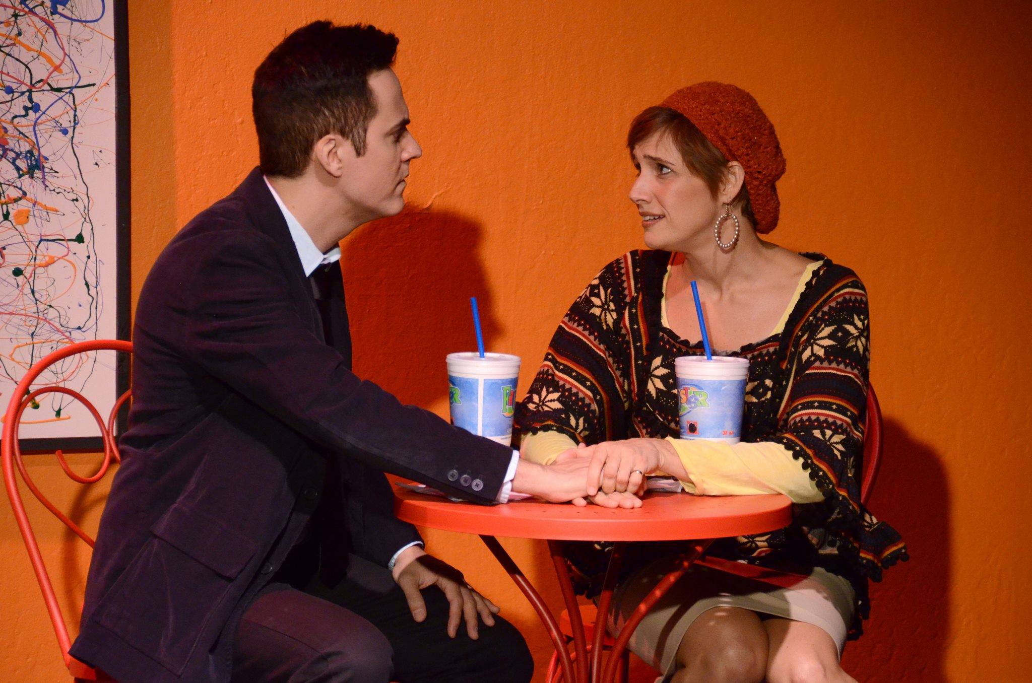 """Brian Weiss and Shana Rebilas Bousard in """"Becky Shaw"""" at Theatre Artists Studio. (Photo by Mark Gluckman)"""