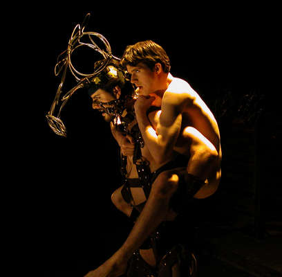 """C.J. Mascarelli and Daniel Sykes in Damon Dering's 2002 production of """"Equus,"""" one of the defining moments in Phoenix theater. (Photo credit unknown)"""