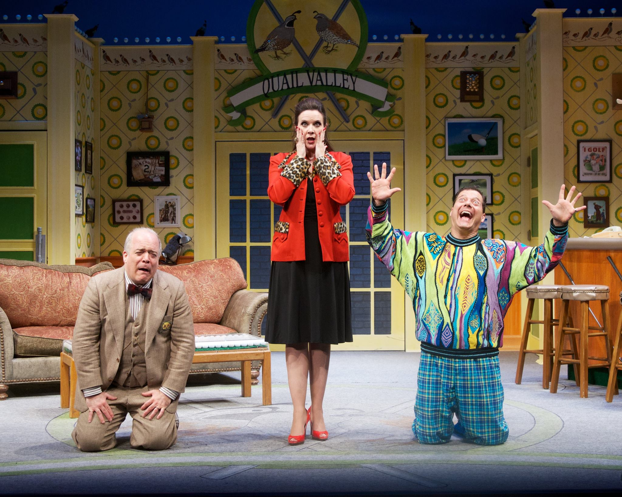 """Maren Maclean is flanked by Ted Barton (left) and Gene Ganssle (right) in """"The Fox on the Fairway"""" at Actors Theatre, 2013. (Photo by John Groseclose)"""