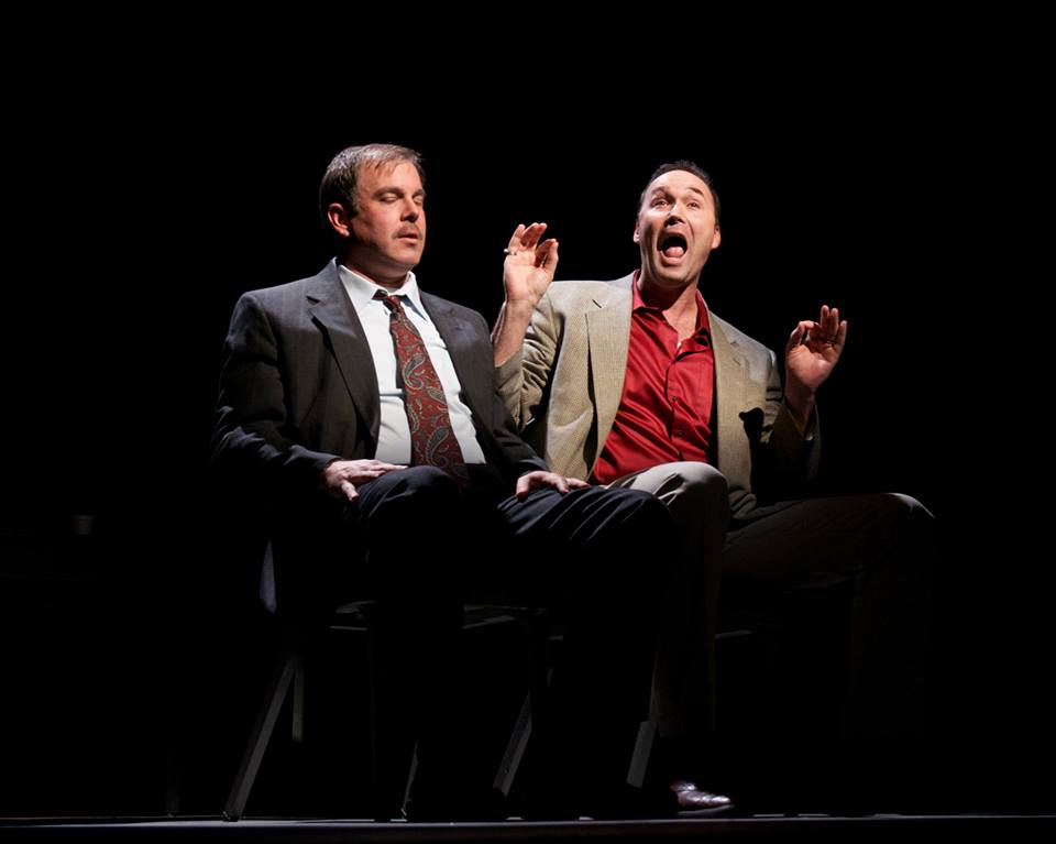 """Christopher Haines and Joseph Kremer in the 2014 production of """"A Steady Rain"""" at Actors Theatre. (Photo by John Grossclose)"""