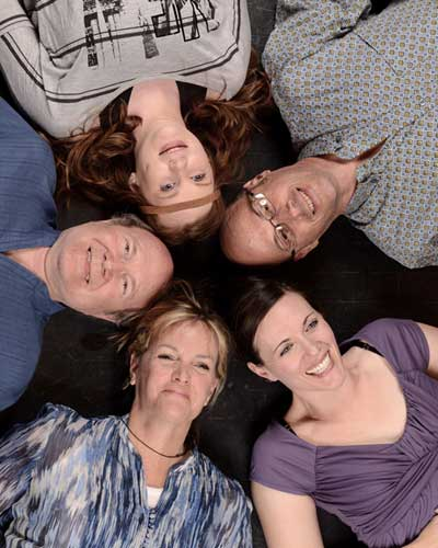The cast of Circle Mirror Transformation, clockwise from left: David Vining, Alyson Maloney, Rusty Ferracane, Maren Maclean, Staci Robbins. (Photo by John Groseclose)