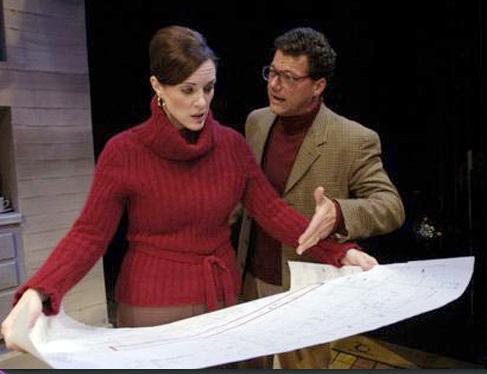 """Maren Maclean and Gene Ganssle in """"Benefactors,"""" Actors Theatre, 2006. (Photo by Jeff Kida)"""