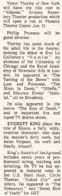 Arizona Repertory Theatre 1965 Volpone 1 Republic, December 26, 1965
