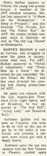 Arizona Repertory Theatre 1965 Volpone 2 Republic, December 26, 1965