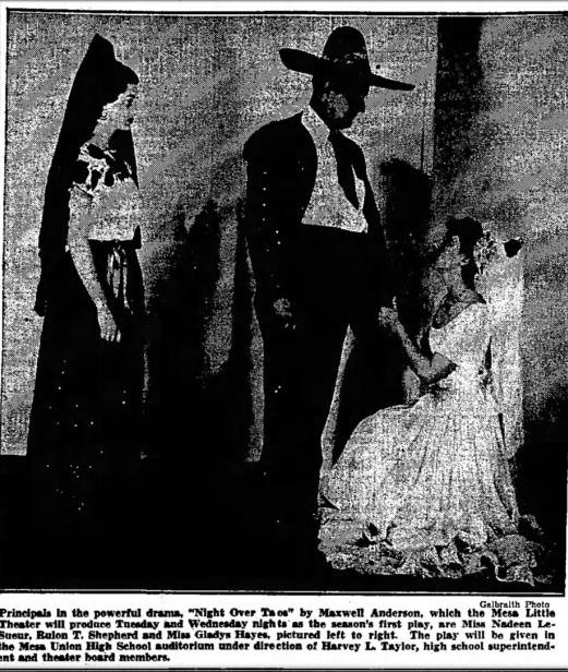 "Mesa Little Theater, November, 1938: ""Flight Over Taos."" (Photo, Arizona Republic)"