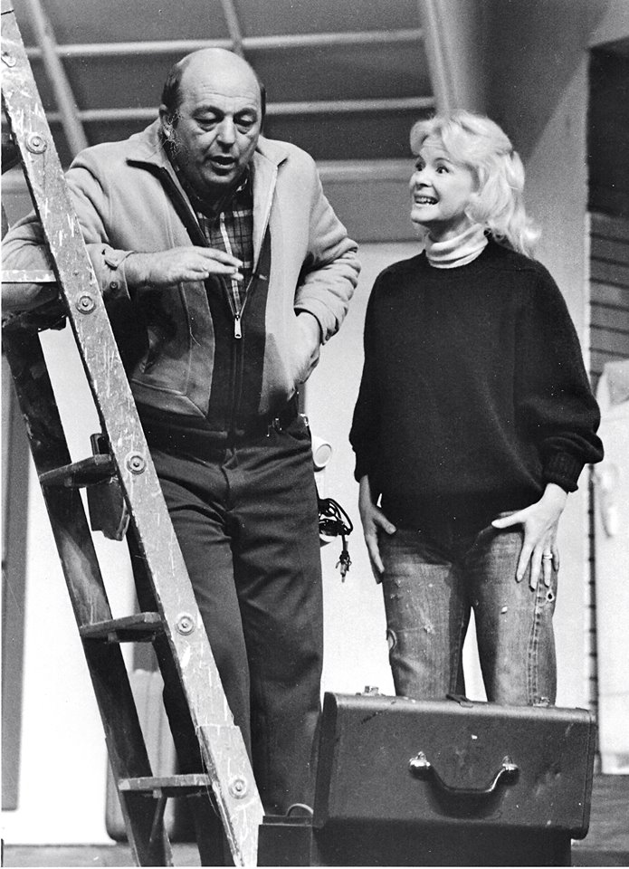 "Barbara McBain and an unidentified actor in a scene from Phoenix Little Theatre's ""Barefoot in the Park,"" sometime in the 1970s. (Photo credit unknown)"