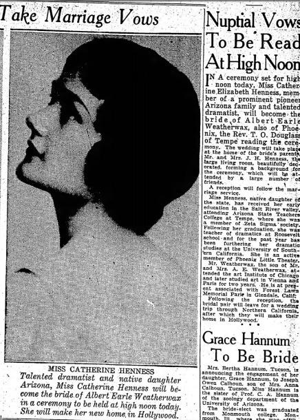 Catherine Henness, PLT actress, wedding, 1935