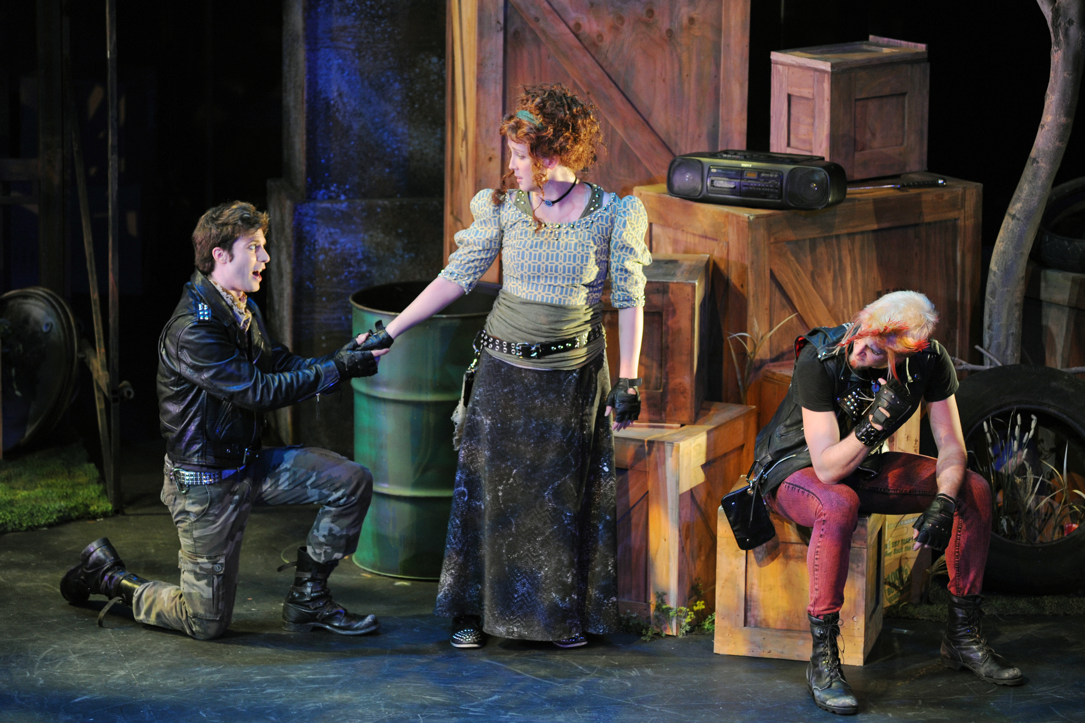 """Andy Cahoon, Kate Haas and an unidentified player in Childsplay's 2014 production of """"Robin Hood."""" (Photo by Tim Trumble)"""