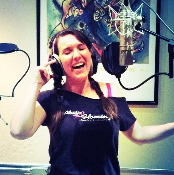 Molly Robinson (Shulie in Schoolhouse Rock Live) belts out some Schoolhouse Rock Live songs in the studio. (Photo credit unknown)