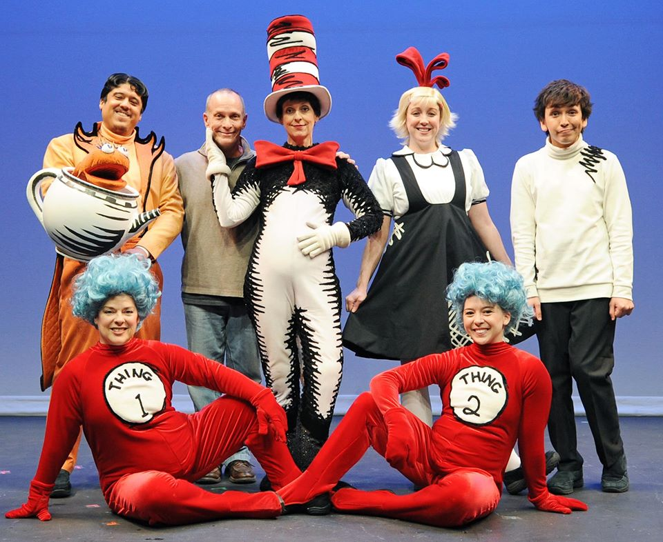 "Director David Barker and the cast of Childsplay's 2014 production of ""The Cat in the Hat."" Top Row: Ricky Ariaza, Barker, Katie McFadzen, Kate Haas and Ricky Ramirez. Front row: Debra K. Stevens, Rebecca Duckworth. (Photograph by Tim Trumble)"