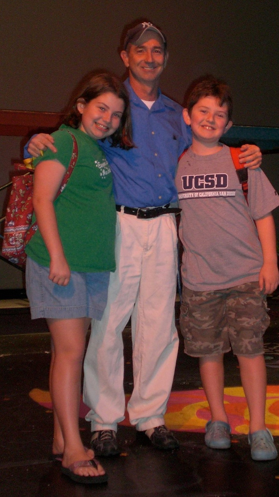 Jon Gentry poses with Connor Biddle (right) and an unidentified young lady backstage during Childsplay's 2007 Summer Camp production of ''Wiley and the Hairy Man.''