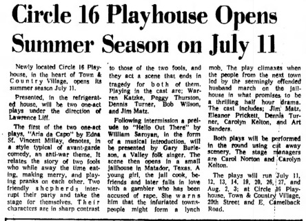 Circle 16 Playhouse June 1963