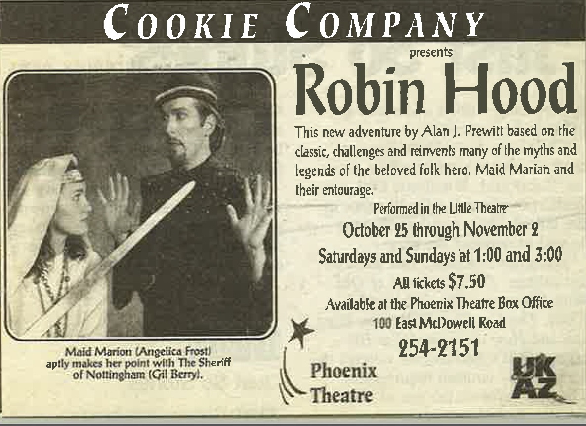 "A newspaper ad for Alan J. Prewitt's ""Robin Hood,"" featuring Angelica Howland and Gil Berry. (From the Collection of Angelica Howland)"