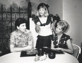 """Ben Tyler, Cathy Dresbach and Jacqueline Gaston in the August 1988 production of """"Wally's Cafe"""" at CopperState Dinner Theatre.  (Photo credit unknown)"""