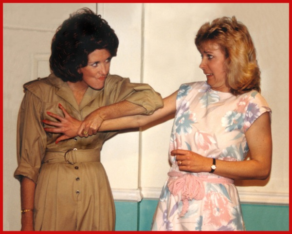 """Jacqueline Gaston and Cathy Dresbach in """"The Odd Couple (Female Version) at CopperState Dinner Theatre, January 1990. (Photo from the collection of Jacqueline Gaston)"""