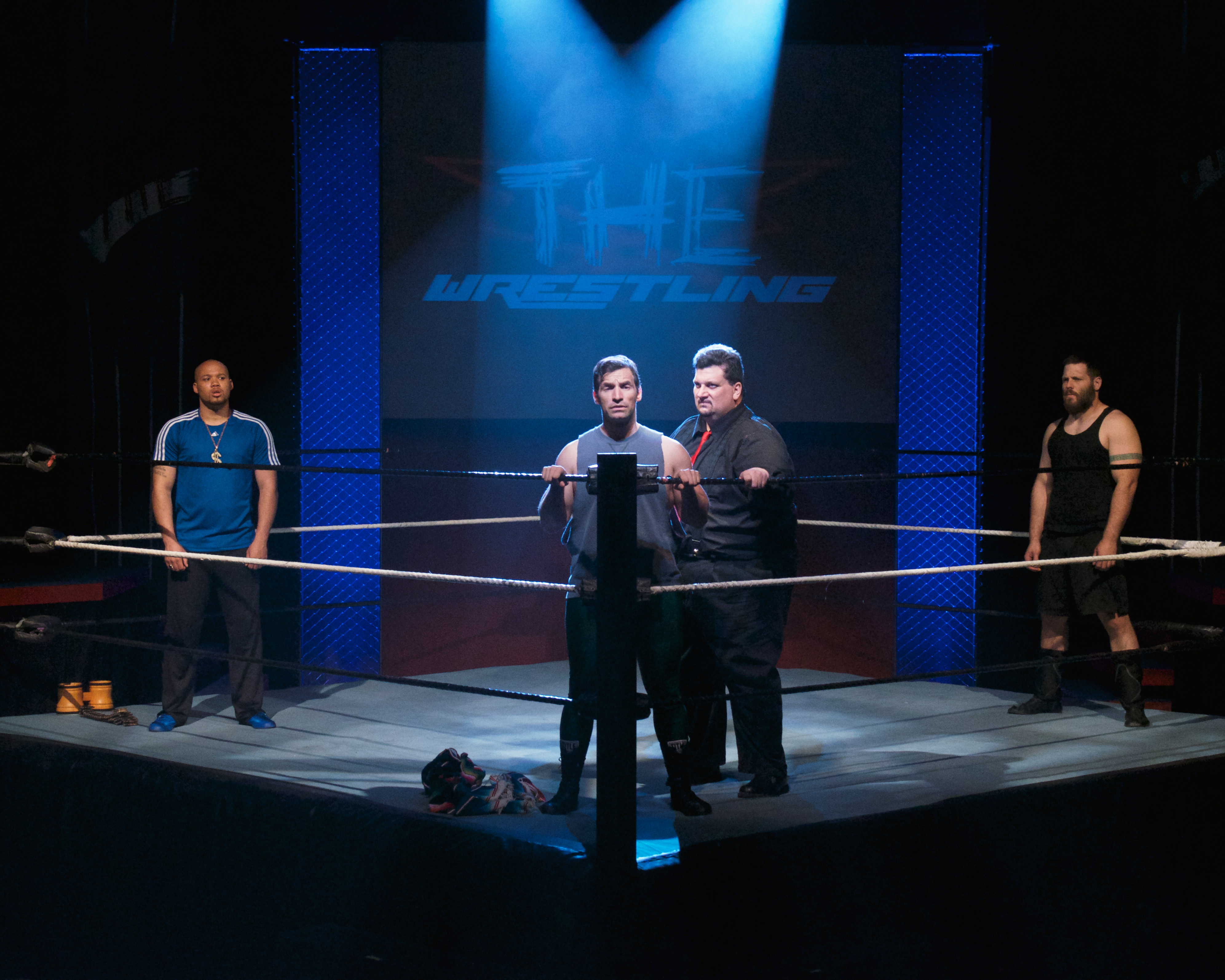 "This photograph by John Groseclose perfectly captures the style and atmosphere of Stray Cat Theatre's 2014 production of ""The Elaborate Entrance of Chad Deity."""