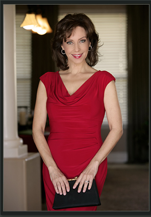 The Lady in Red - Debby Rosenthal at home. (Photo credit unknown)