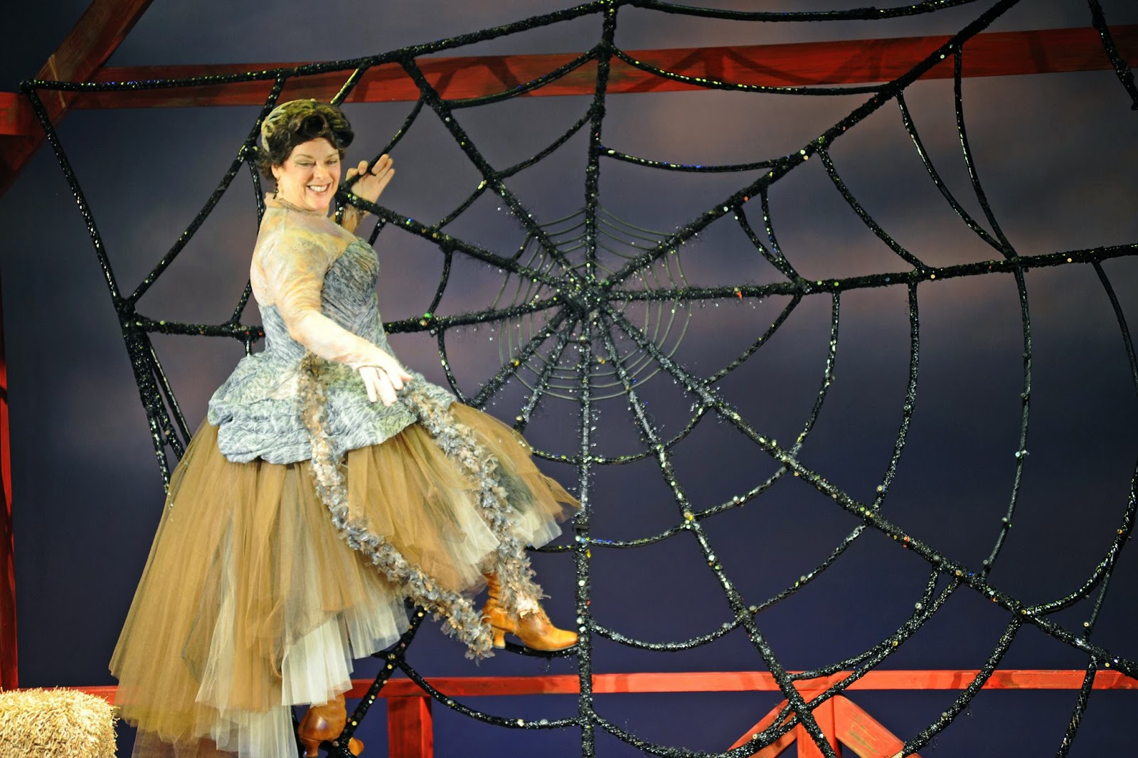"Debra K. Stevens as Charlotte in Childsplay's 2014 production of ""Charlotte's Web."" (Costume by Adriana Diaz. Photo by Tim Trumble)"