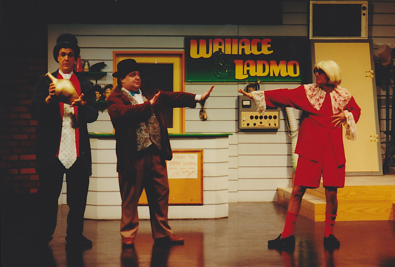 """Hamilton Mitchell is Ladmo, Wes Marin is Wallace and Bob Sorenson is Gerald in Ben Tyler's """"The Wallace and Ladmo Show"""" (2000) at Desert Foothills Theatre. (Photo Credit Unknown)"""