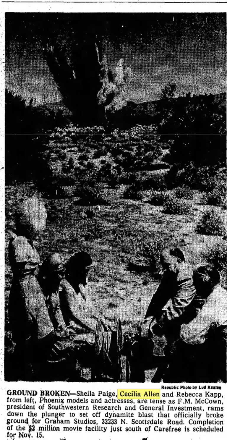 Groundbreaking ceremonies from the Graham Studios, later to become the Carefree/Dick Van Dyke Studios. (Clipping from Aug. 16, 1978 edition of the Arizona Republic.)