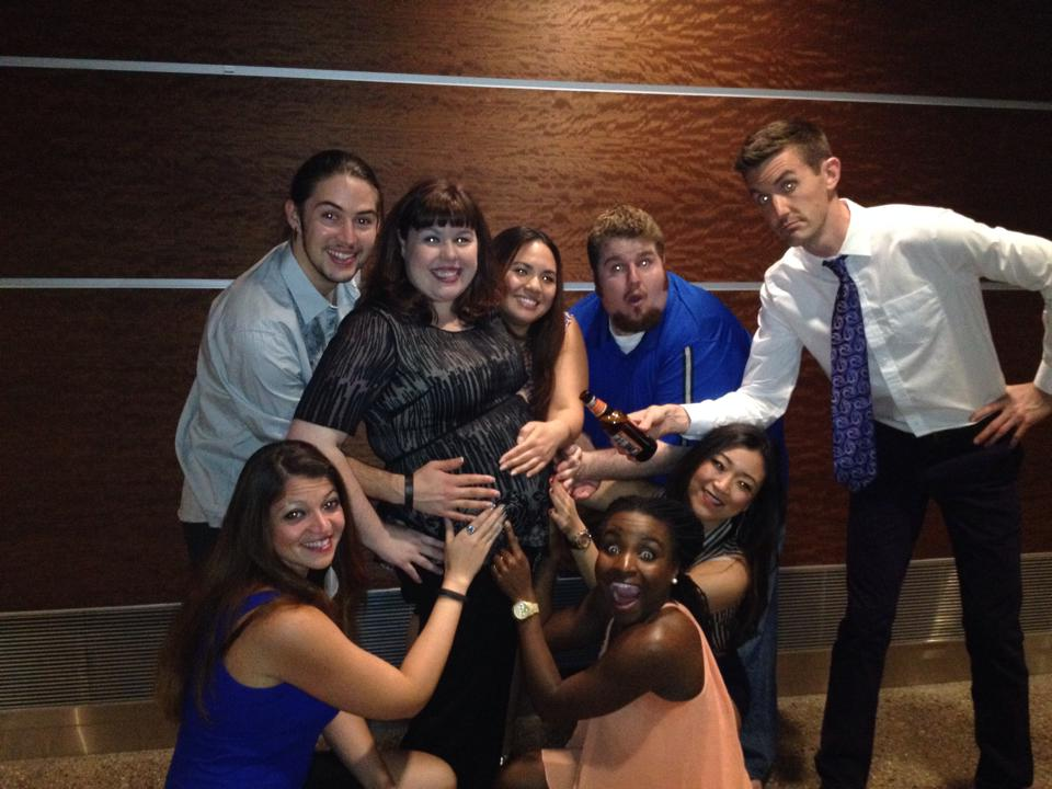 What's more difficult than having a full time job, a 10 month old, and performing in Avenue Q? Doing it all while pregnant! Baby No. 2 due is in September! Here, Emily is surrounded by her Avenue Q castmates at Phoenix Theatre. April, 2014. (Photo credit unknown)