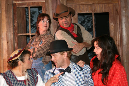 "The cast of ""Oklahoma,"" Fountain Hills Theatre, 2008. Background: Amy Powers and Alex Gonzalez Foreground: Hilary Hirsch, Stefan Linder and Jessica Herrmann."
