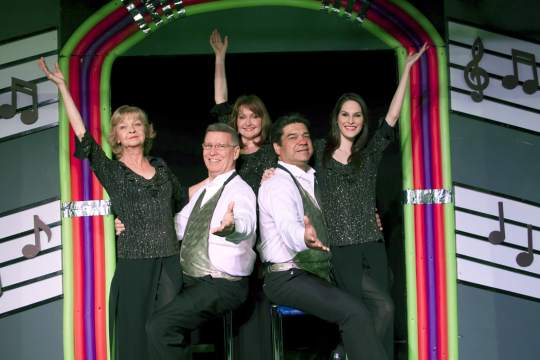 "Noel Irick, one of Valley theater's best-known actress-singer-dancer-choreographers, is at left in this 2014 revival of ""Broadway Jukebox"" at Fountain Hills Theatre. Also pictured: Peter Hill, Janine Smith, Alex Gonzalez and Jacqui Notorio. (Photo credit unknown)"
