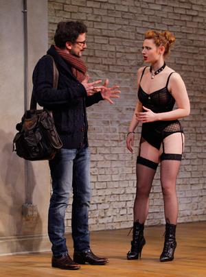Gillian Williams (Vanda) and Michael Tisdale (Thomas) in 'Venus in Fur.' Photo, Chris Bennion.
