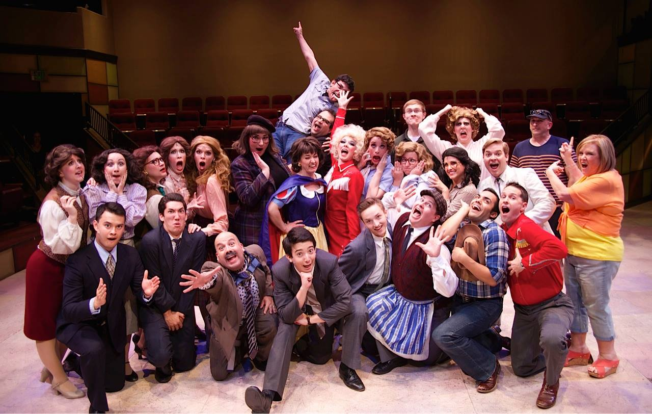 "The cast celebrates the wrap of Hale Centre Theatre's 2014 production of ""9 to 5."" (Photo credit unknown)."