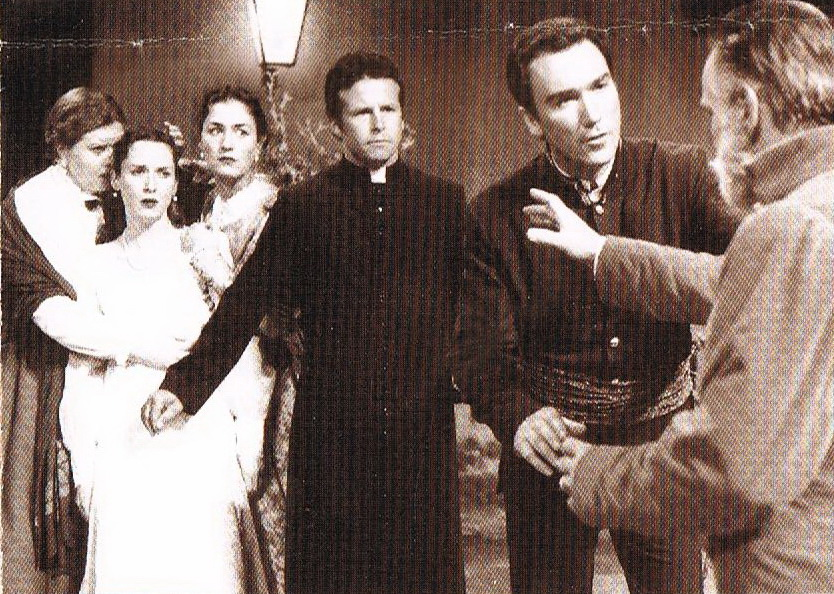 """Rebecca Walendzak, Jessica Claire, Dan Cordle, Patrick Page and Harold Dixon in """"Much Ado About Nothing."""" (Photo by Mel Russell)"""