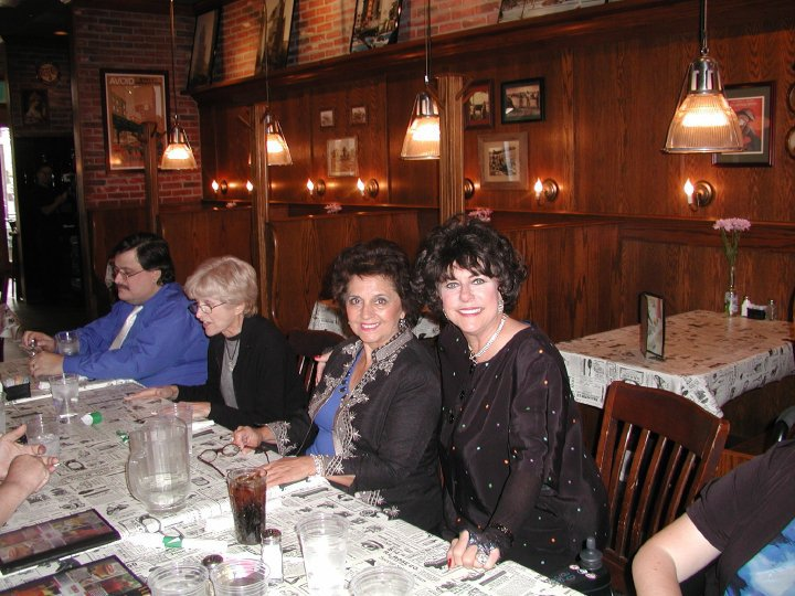 Erik Jensen, Judy Rollings, Delores D'Amore Goldsmith and Hrabina Krystyna at a cast party for Improbably Theatre Company. (Photo Credit Unknown)
