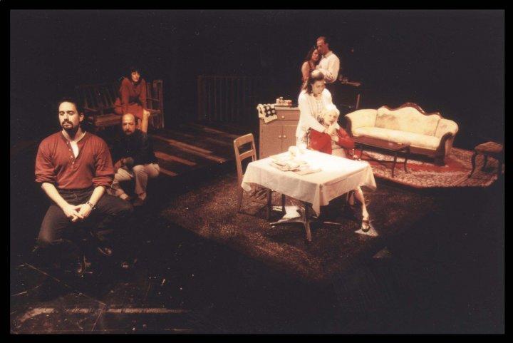 In Mixed Company. 1996?. 'The Shadow Box.' Michael Tassoni, Michelle Konevich Nicholas, Robyn Allen, Rusty Ferracane. (Photo from Brenda Edward's Facebook Page)