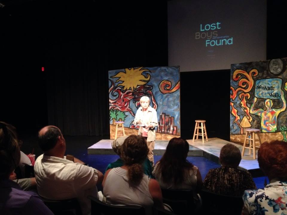 Judy Rollings introduces a performance of 'Lost Boys Found,' a new play by Julie Amparano Garcia at the Kax Stage, Herberger Theatre Center, May 2014