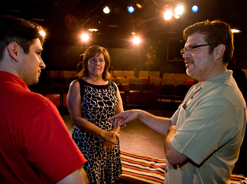 """James Garcia (right) and Julie Amparano chat with Andrew Valenzuela prior to the premier performance of a one-act play, """"A Boy Named Cesar"""" at ASU's West Campus."""